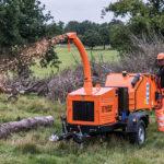 Timberwolf TW 230PAHB Petrol Road Tow Wood Chipper - feeding brash