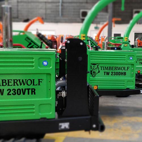 Timberwolf Green Machines in a row